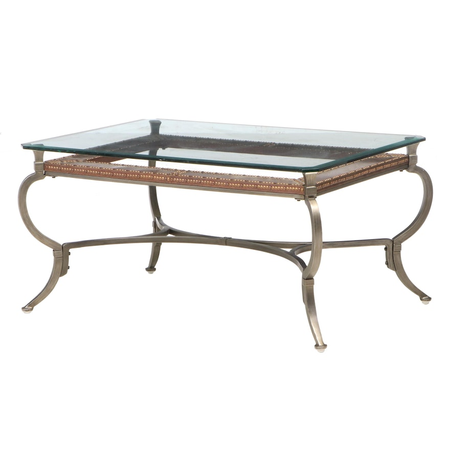 Contemporary Glass Top Metal and Brass-Tacked Coffee Table