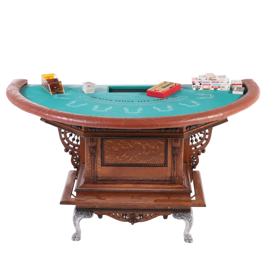 Victorian Oak Black Jack Game Table with Poker Chips and Cards