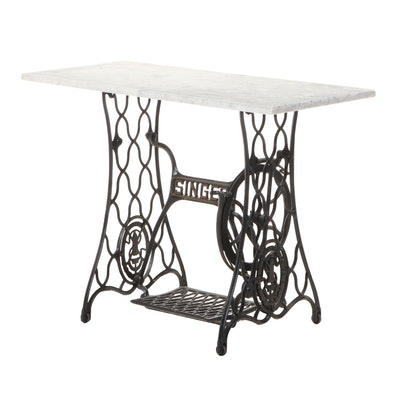 "Cast Iron and White Marble ""Sewing Machine"" Occasional Table"