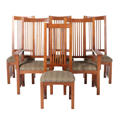 Six National Mt. Airy Arts and Crafts Style Oak Dining Chairs, Late 20th Century
