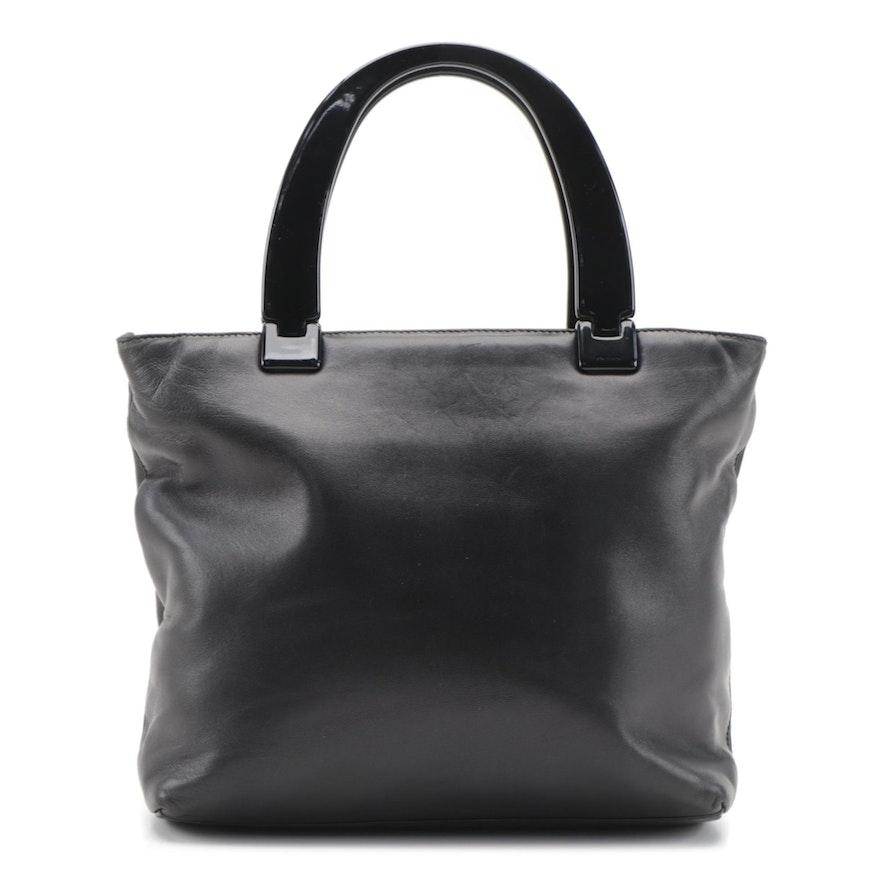 Prada Hard Plastic Handle and Black Leather Handbag