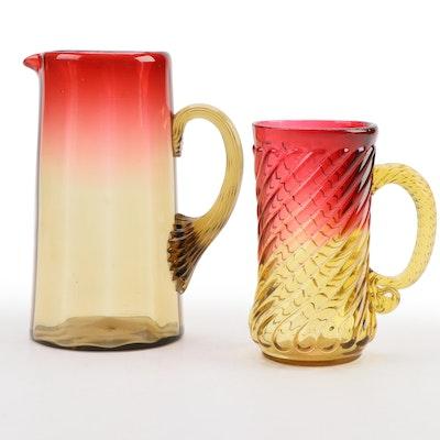 Amberina Sandwich Glass Pitcher and New England Mug, Early 20th Century