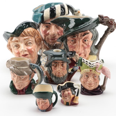 """Royal Doulton """"The Falconer"""" and Other Characters Jugs, Mid to Late 20th C."""