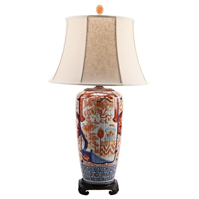 Very Large Imari Shoulder Vase Lamp with Burlap Shade, 19th Century