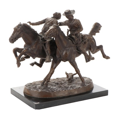 """Cast Bronze Sculpture after Frederic Remington """"The Wounded Bunkie"""""""