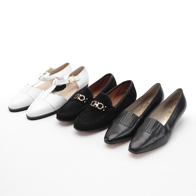Salvatore Ferragamo Leather and Suede Loafers with White Leather Sandals