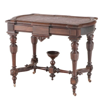 Victorian Renaissance Revival Walnut and Rouge Marble Center Table, circa 1870