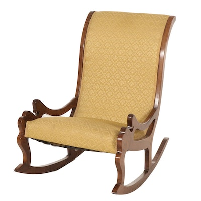Carved Walnut with Yellow Damask Upholstery Lincoln Rocking Chair