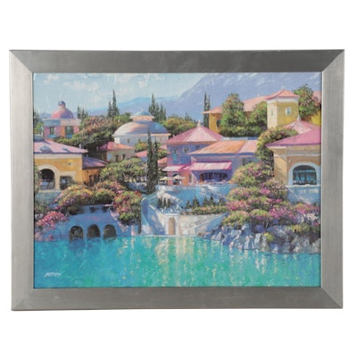 Embellished Offset Lithograph after Howard Behrens of a Coastal Landscape