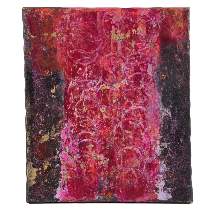 Janice Schuler Abstract Acrylic Mixed Media Painting, 2018