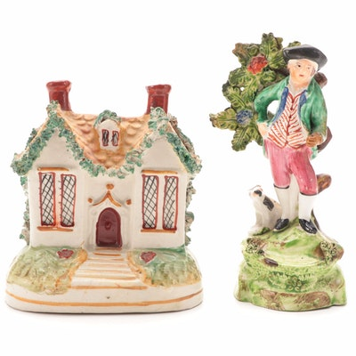 Staffordshire Pearlware Figurine and Cottage Money Bank, 19th Century
