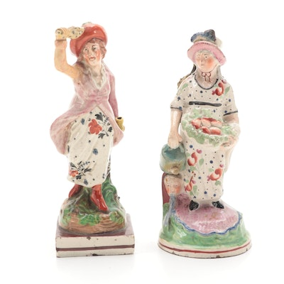 Staffordshire Pearlware Female Figurines, Early to Mid 19th Century