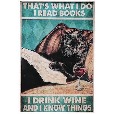 Giclée of a Black Cat Drinking Wine, 21st Century
