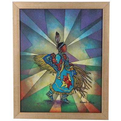 Ricardo Maya Acrylic Painting of Figure, 21st Century