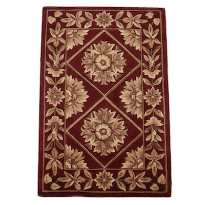 2'0 x 3'0 Hand-Tufted Sino French Savonnerie Wool Accent Rug, 2010's