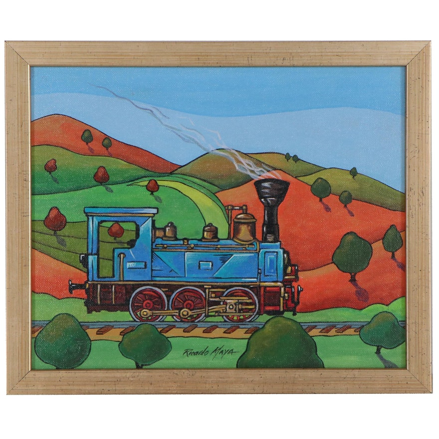 Ricardo Maya Acrylic Painting of a Train, 21st Century
