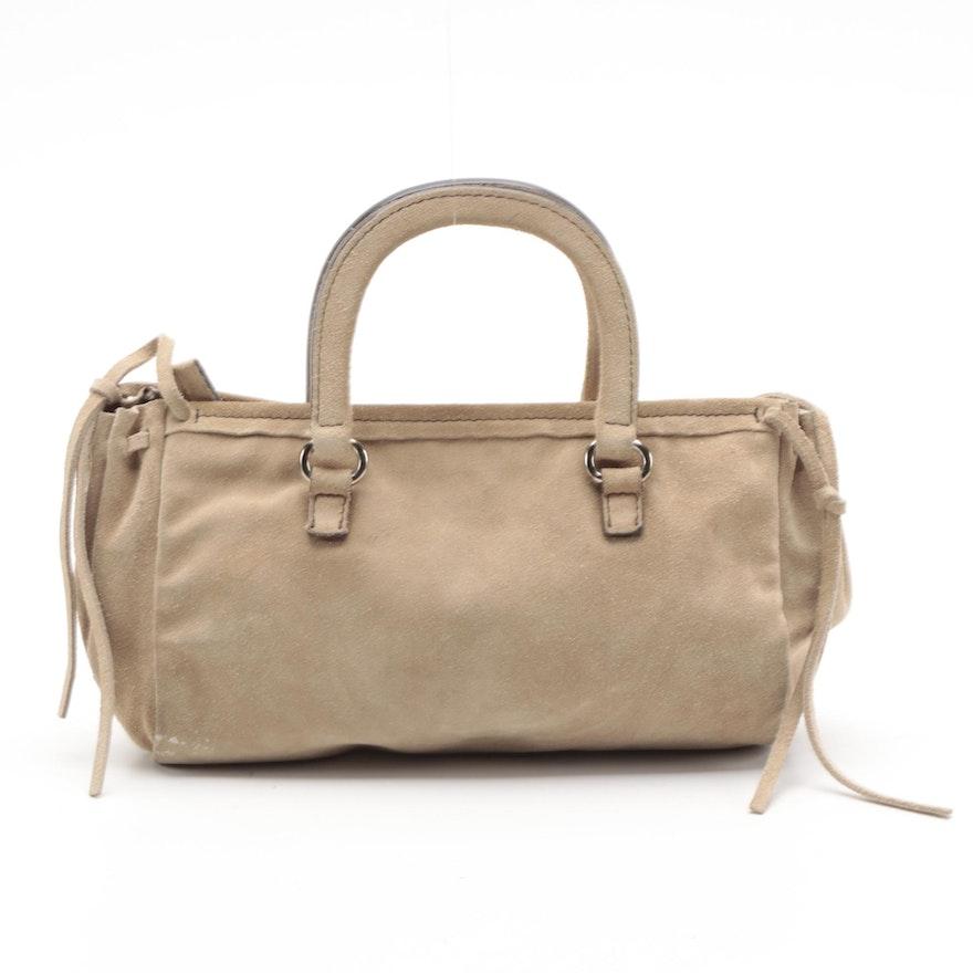 Prada Mini Top Handle Bag with Drawstring Sides in Natural Suede