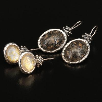 Michael Dawkins Sterling Jasper and Rock Quartz Crystal Doublet Earrings