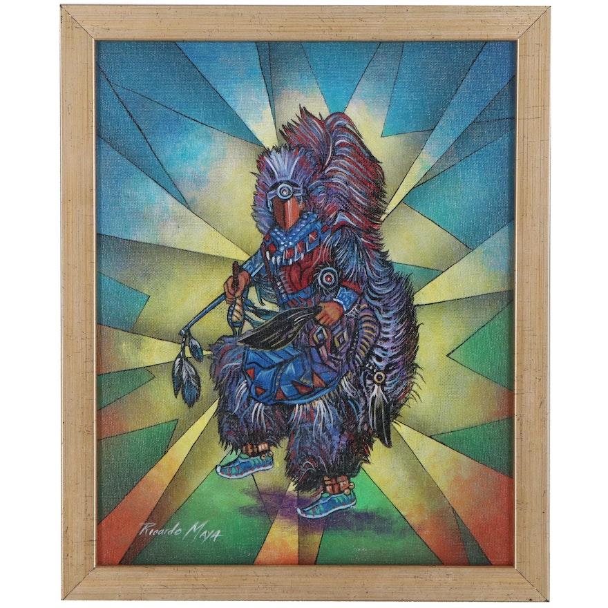 Ricardo Maya Acrylic Painting of Dancing Native American Figure, 21st Century