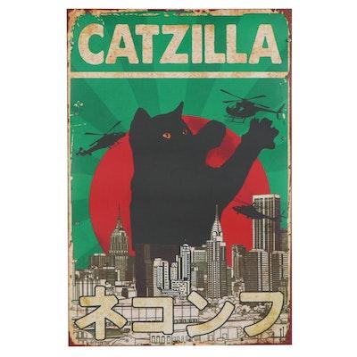 "Giclée of Black Cat ""Catzilla,"" 21st Century"