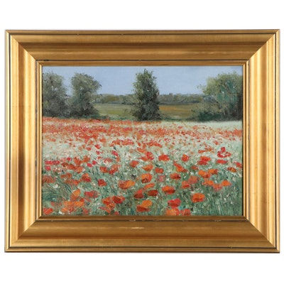 Garncarek Aleksander Oil Painting of Poppy Field, 21st Century
