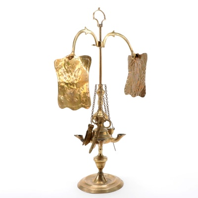 Brass Lucerne Whale Oil Lamp with Attached Tools and Reflectors, Antique