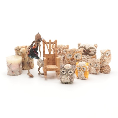 Shell Owl Figurines, Coconut Figurine, and Candles
