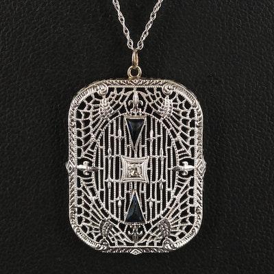 Art Deco 10K Diamond and Glass Openwork Pendant on 14K Singapore Chain Necklace