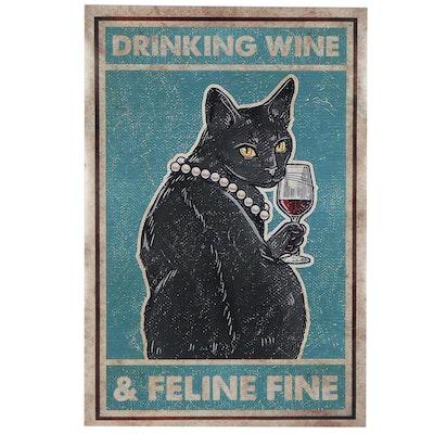 """Giclée Poster of Black Cat """"Drinking Wine & Feline Fine"""""""