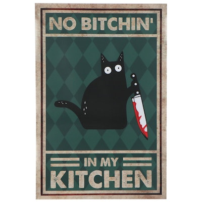 """Giclée Poster of Black Cat """"No Bitchin' in My Kitchen"""""""