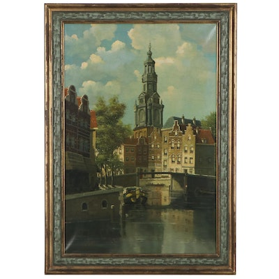 D. Verwey Dutch Canal Scene Oil Painting, Mid-20th Century