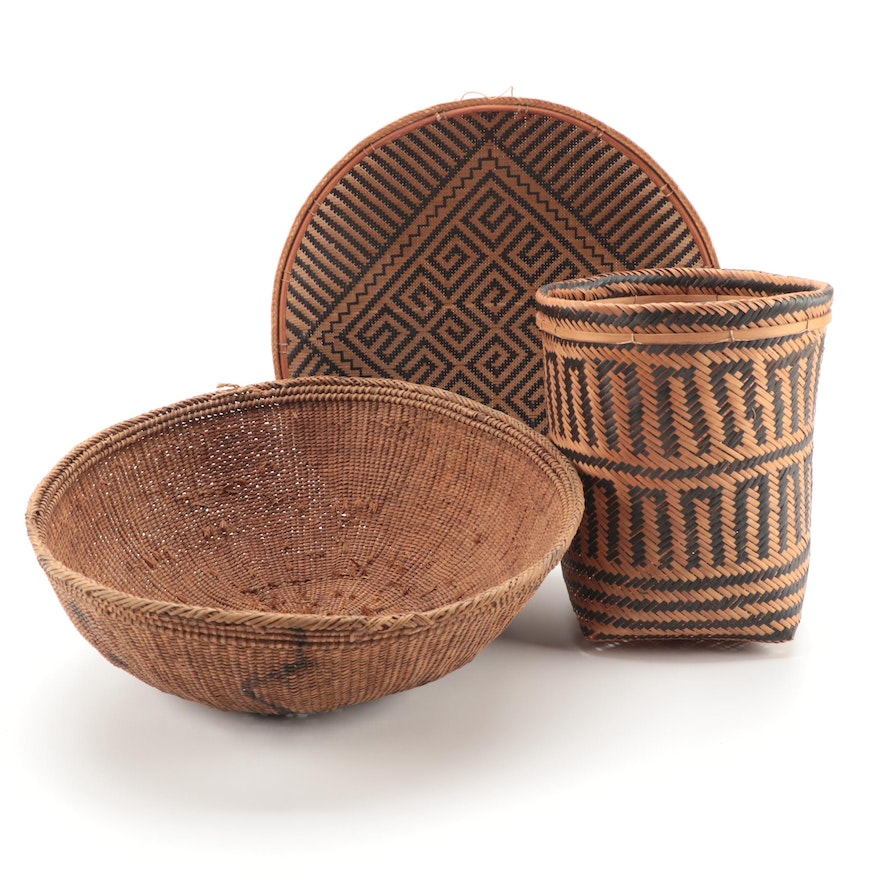 South American Hand-Woven Baskets and Tray