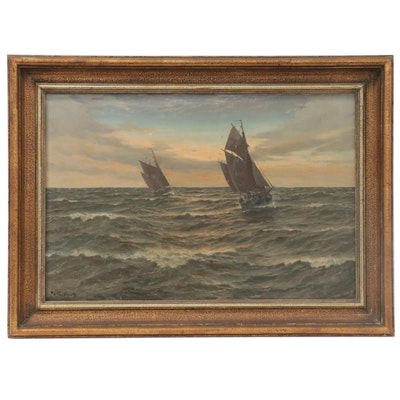 Patrick von Kalckreuth Nautical Oil Painting, Mid-20th Century