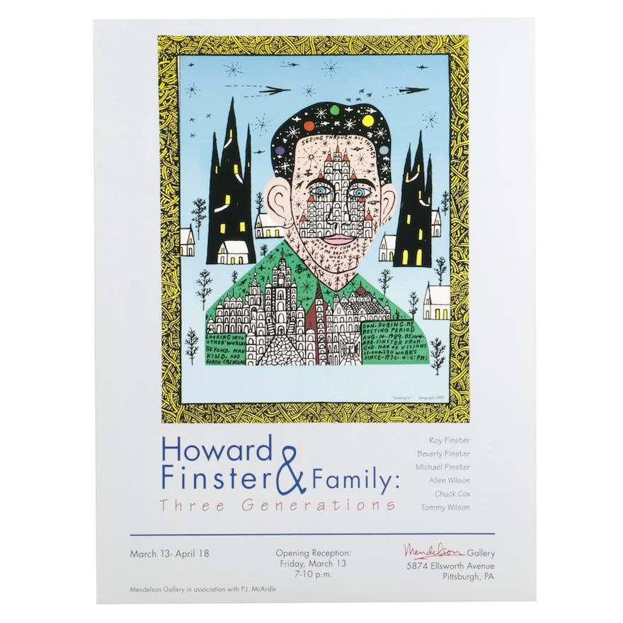 Offset Lithograph Poster after Howard Finster for Mendelson Gallery