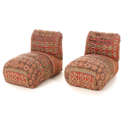 Pair of Floor Chairs with Turkish Kilim Upholstery, Late 20th Century
