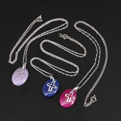 Sterling Silver Quartzite Cross Pendant Necklaces