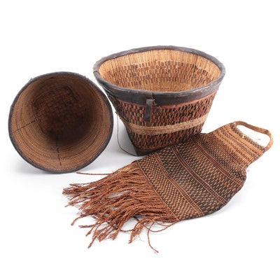 African Hand-Woven Baskets with Leather and Grain Bag
