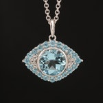 SeidenGang Sterling Sky Blue Topaz Evil Eye Pendant Necklace