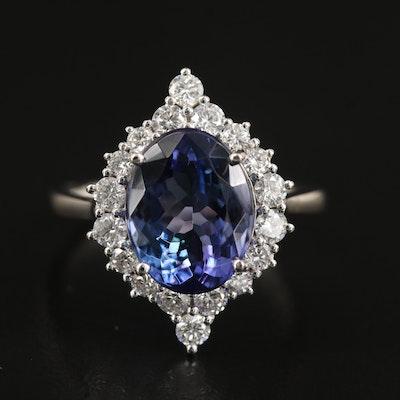 Platinum 4.55 CT Tanzanite and Diamond Ring