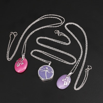 Sterling Quartzite Dragonfly and Cross Pendant Necklaces with Diamond Accent