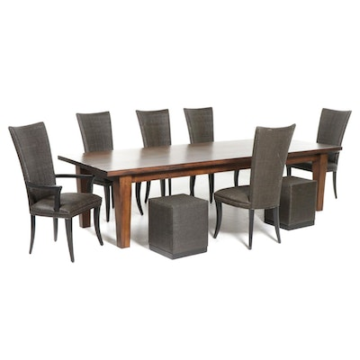 Refectory-Length Dining Table with Ebonized Wood and Resin Wicker Chairs