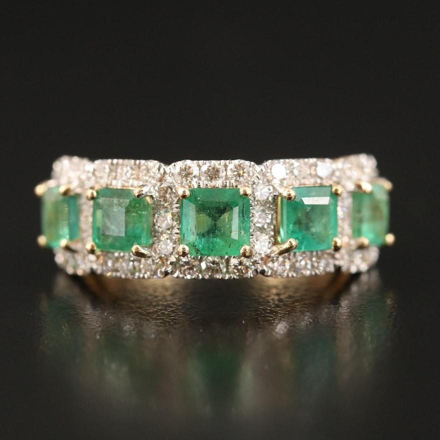 18K Emerald and 1.02 CTW Diamond Ring