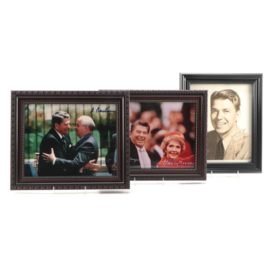 Ronald and Nancy Reagan and Mikhail Gorbachev Signed Photographic Prints