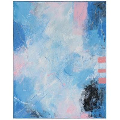 "Suzanna ""Sanna"" Frank Abstract Acrylic Painting ""Blueberries and Yogurt,"" 2021"