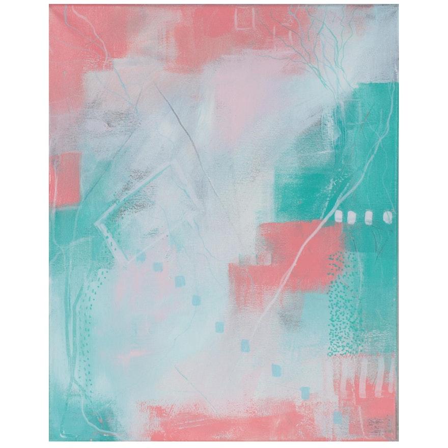 "Suzanna ""Sanna"" Frank Abstract Acrylic Painting ""Emerald Isle,"" 2021"