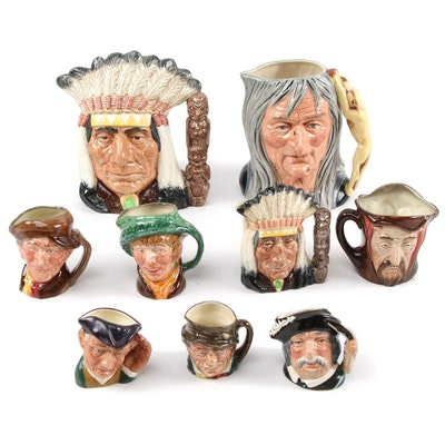 """Royal Doulton """"The Pendle Witch"""" and More Character Jugs, Mid/Late 20th Century"""