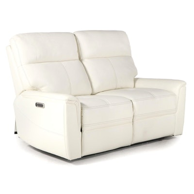 Contemporary Leather Electric Reclining Love Seat
