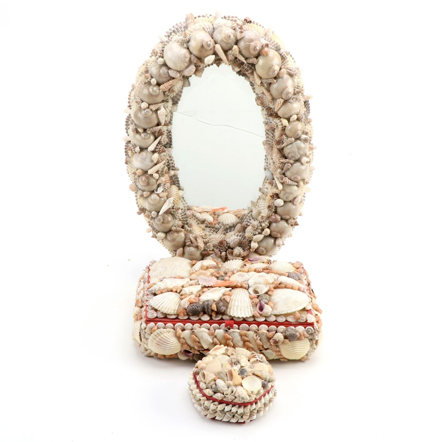 Seashell Art Trinket Boxes and Oval Wall Mirror, Mid to Late 20th Century