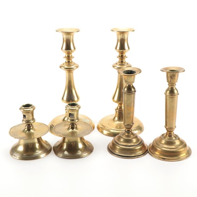 Federal Style Brass Turned Brass Candlesticks, Antique