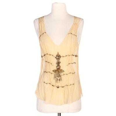 Hale Bob Bead and Sequin Embellished Sheer Silk Sleeveless Top